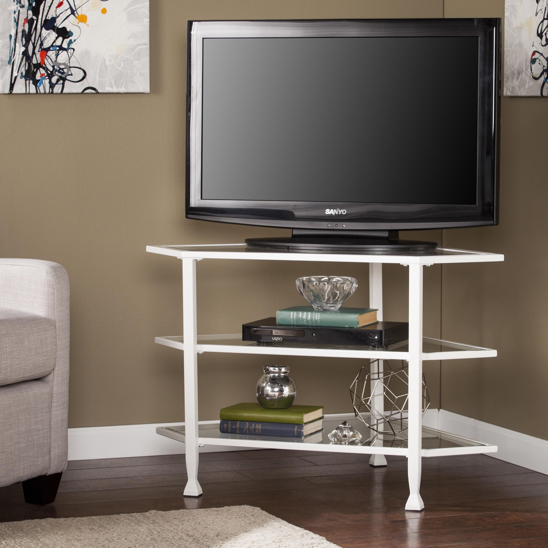 Harper Blvd Jensen Metal/Glass Corner TV Stand - White (O...