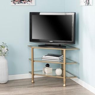 Jensen Metal/Glass Corner TV Stand - Distressed Silver