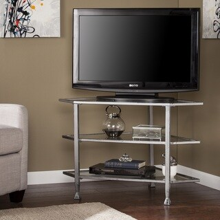 Harper Blvd Jensen Metal/Glass Corner TV Stand - Distressed Silver