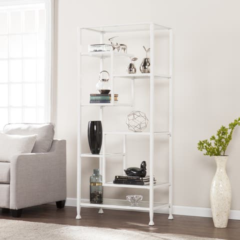 Harper Blvd Jensen Metal/Glass Asymmetrical Etagere/Bookcase - White