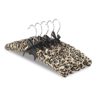 Whitmor Satin Padded Blouse Hangers, 10-Pack in Leopard-Chrome Hook