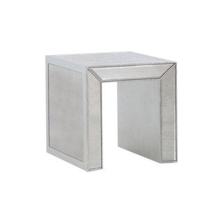 Best Master Furniture T1850 Silver Wood/Glass End Table