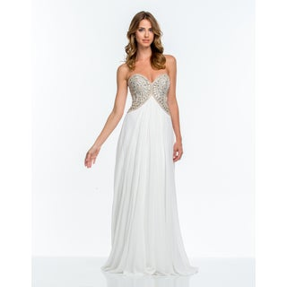 White Chiffon Sweetheart A-Line Gown