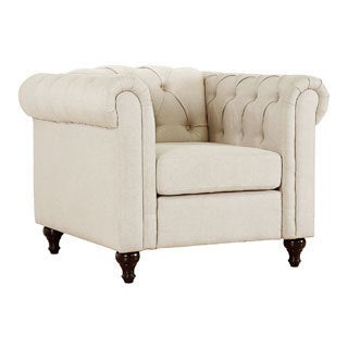 US Pride Furniture Thomas Modern Chesterfield Linen Fabric Tufted Chair with Wood Legs