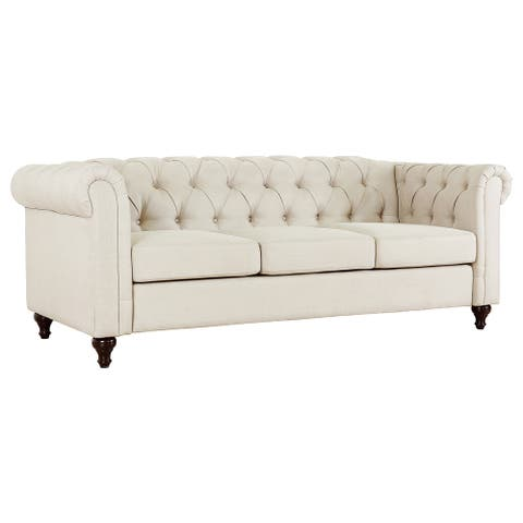 Thomas Modern Chesterfield Linen Fabric Tufted Sofa with wood legs