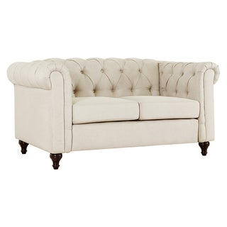 Link to Gracewood Hollow Alloula Linen Fabric Tufted Loveseat with Wood Legs Similar Items in Living Room Furniture