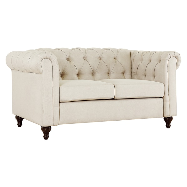 Gracewood Hollow Alloula Linen Fabric Tufted Loveseat with Wood Legs