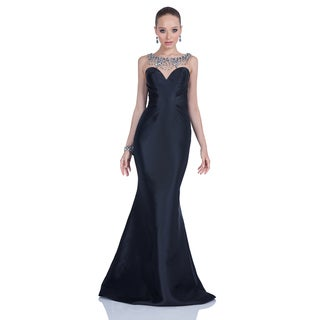 Terani Couture Women's Black Strapless Illusion Sweetheart Evening Dress