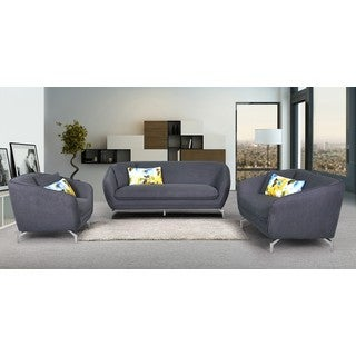 Modern Metropolitan Linen Fabric Upholstery Sofa, Loveseat and Chair Set (3pc)