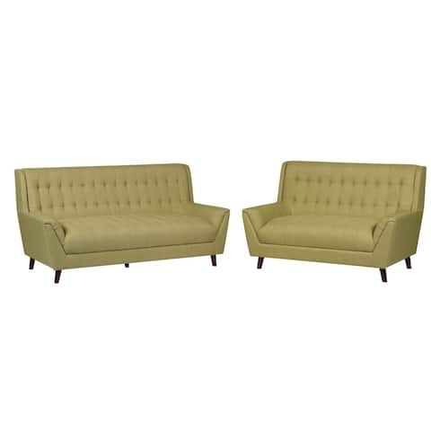 Jonathan Modern Mid Century Tufted Linen Fabric Upholstery Accent Sofa and Loveseat (2Pc)