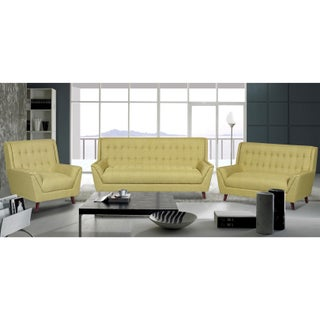 Jonathan Modern Mid Century Tufted Linen Fabric Upholstery Accent Sofa, Loveseat and Chair (3pc)