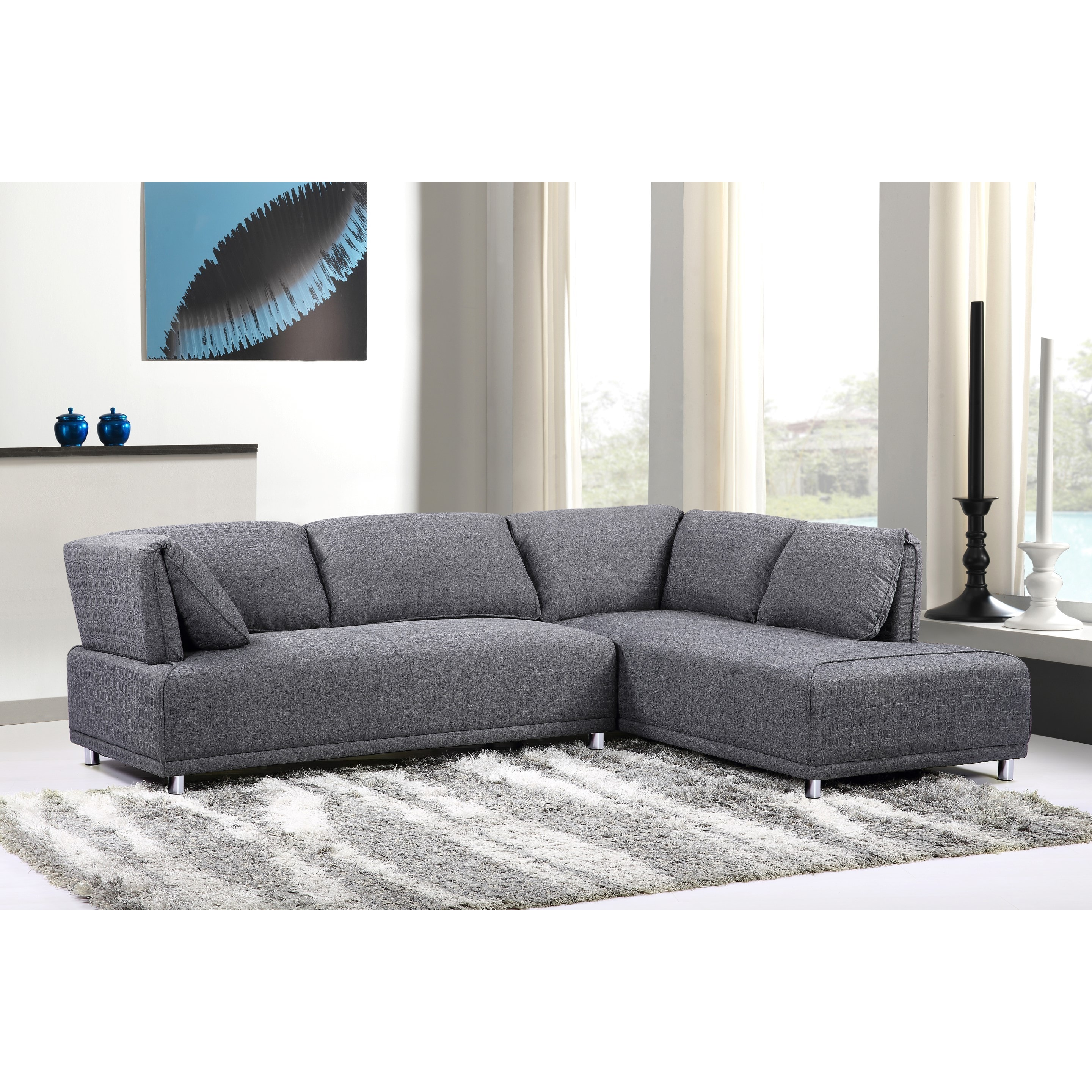 Modern Elvis Right Side Chaise Sectional Sofa With Metal Legs