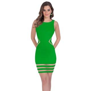 Terani Couture Green Fitted Neoprene Mini Dress with Mesh Cutouts
