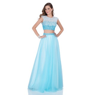 Fully Sequin Embellished Two-tone Crop Top Prom Gown