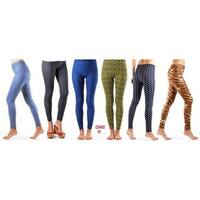 Dinamit Girls' Nylon Big Printed Leggings (Pack of 6)