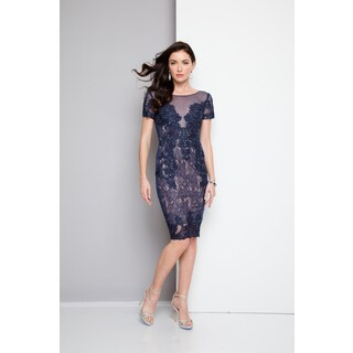 Terani Couture Blue Floral Lace Short Cocktail Dress