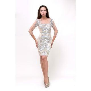 Terani Couture Women's Short Beaded Sheer Cocktail Dress
