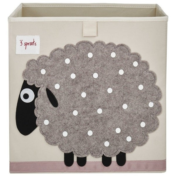 3 Sprouts Beige Sheep Storage Box