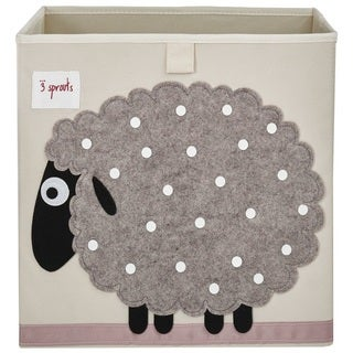 3 Sprouts Beige Sheep Storage Box