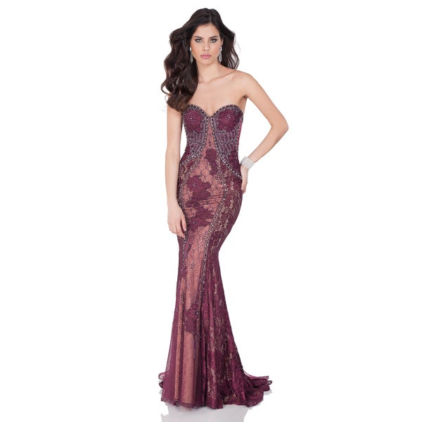 Terani Couture Women's Exquisite Beaded Lace Strapless Gown
