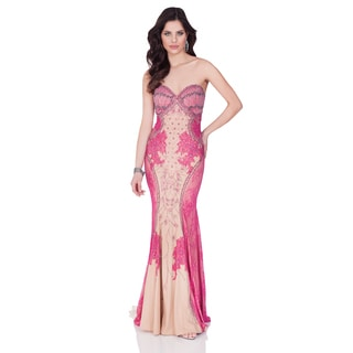 Terani Couture Placed Lace Strapless Evening Gown