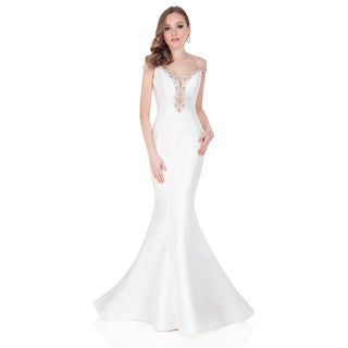 Terani Couture White Gorgeous Fitted Off-the-shoulder Evening Dress