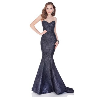 Terani Couture Grey Strapless Marble Jacquard Evening Gown