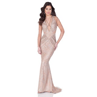 Terani Couture Women's Sultry Tan Long-sleeve Lace Pageant Gown