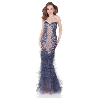 Blue Pageant Gown Featuring Laser Cut Leather Forms and Matching Feathers