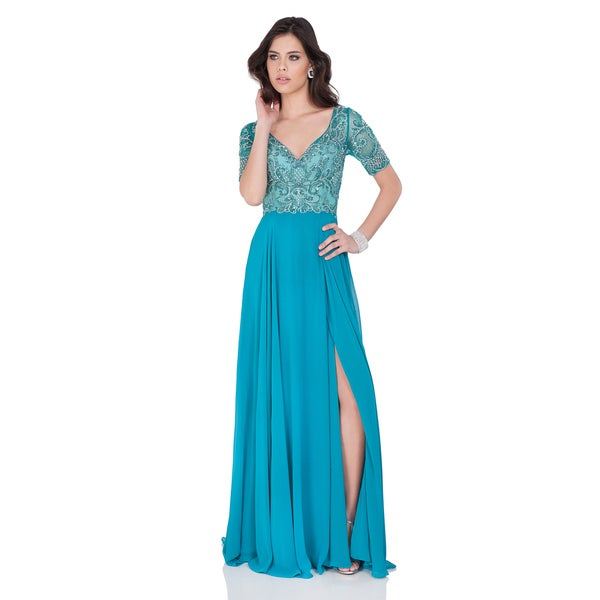 4598af1896b38 Beaded Green V-Neck Gown with Chiffon Skirt