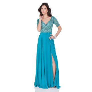 Beaded Green V-Neck Gown with Chiffon Skirt