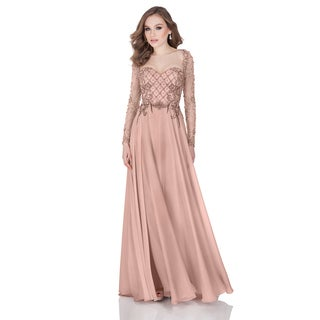 Terani Couture Beaded Chiffon Gown with Multi-pattern Beading