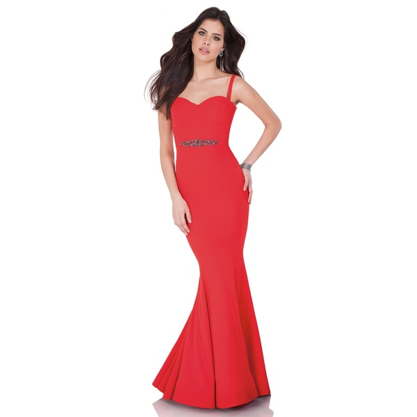 Shop Terani Couture Red Long Trumpet Evening Gown with Beaded Accent ...