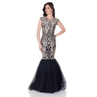 Terani Couture Women's Black Tulle Cap-sleeve Evening Gown