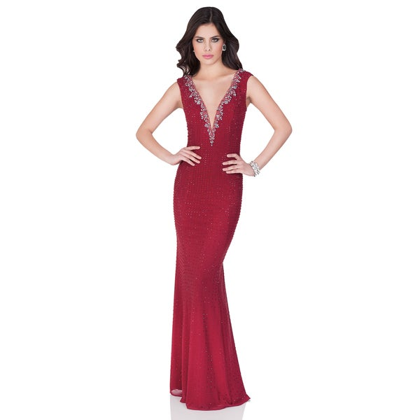 Shop Terani Couture Red Floor-length Evening Gown with Plunging ...