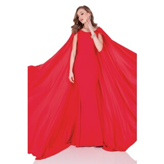 Terani Couture Red Satin Crepe Back Evening Gown With Cape