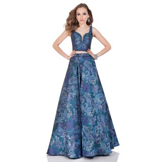 Women's Blue Bateau Neck Two-piece Long Ball Gown