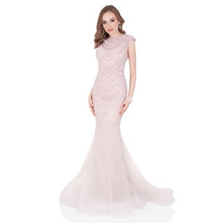 Terani Couture Women's Pink Cap-sleeve Long Pageant Gown