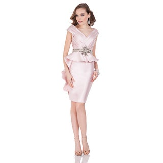 Terani Couture Women's V-neck Short Mikado Dress with Elegant Tiered Top