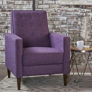 Mervynn Mid-Century Button Tufted Fabric Recliner Club Chair by Christopher Knight Home (muted purple + dark espresso)