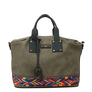 Nikky Pana Olive Green Faux Leather Shopper Tote Bag
