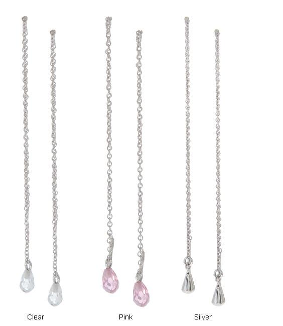 Journee Collection Sterling Silver Teardrop Threader Earrings