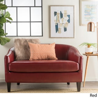 Justine Faux Leather Loveseat by Christopher Knight Home (Option: Red)
