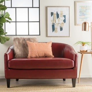 Link to Justine Faux Leather Loveseat by Christopher Knight Home Similar Items in Living Room Furniture