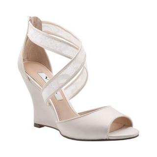 Women's Nina Elyana Cross Strap Wedge Sandal Ivory Crystal Satin/Rose Lace (More options available)