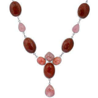 Orchid Jewelry Solid Sterling Silver 197 Carat Jasper, Strawberry Quartz Gemstone Necklace|https://ak1.ostkcdn.com/images/products/15038411/P21533162.jpg?impolicy=medium