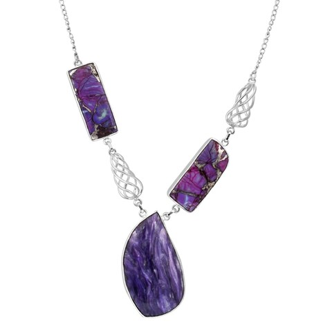 Orchid Jewelry Solid Sterling Silver 75 Carat Sugilite, Turquoise Gemstone Necklace