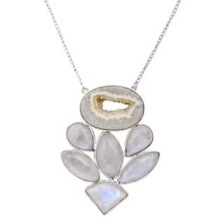 Orchid Jewelry Solid Sterling Silver 90 Carat Druzy, Rainbow Moonstone Gemstone Necklace