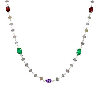 Orchid Jewelry Solid Sterling Silver 29 1/3 Carat Emerald, Garnet, Amethyst, Sapphire Beaded Necklace