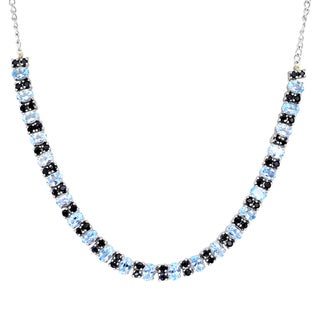 Orchid Jewelry Solid Sterling Silver 27 4/9 Carat Blue Topaz, Sapphire, Diamond Statement Necklace